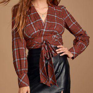 Lulus Fallbrook Red Wrap Plaid Long Sleeve Top
